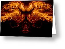 Mask Of Fire Greeting Card by Val Black Russian Tourchin