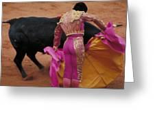 Matador And Bull Greeting Card by Carl Purcell