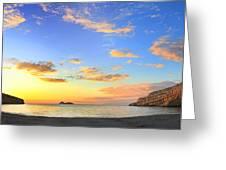 Matala Bay Sunset Greeting Card by Paul Cowan
