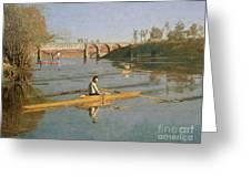 Max Schmitt In A Single Scull Greeting Card by Thomas Cowperthwait Eakins