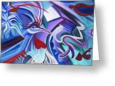 Mayan Phoenix Greeting Card by Matt Crux