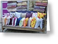 Medina Pillow Shop Greeting Card by Ornella Coppo