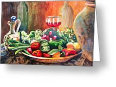 Mediterranean Table Greeting Card by Karen Stark