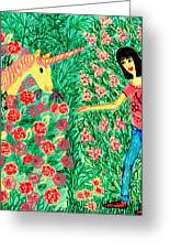 Meeting In The Rose Garden Greeting Card by Sushila Burgess