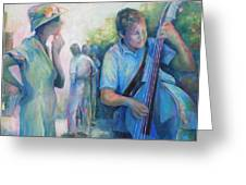 Memories -  Woman Is Intrigued By Musician.  Greeting Card by Susanne Clark