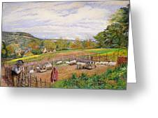 Mending the Sheep Pen Greeting Card by William Henry Millais