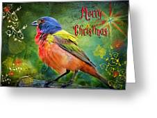Merry Christmas Painted Bunting Greeting Card by Bonnie Barry