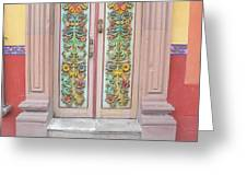Mexican Doorway 3 Greeting Card by Francine Gourguechon