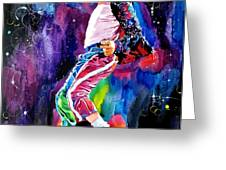 Michael Jackson Dance Greeting Card by David Lloyd Glover
