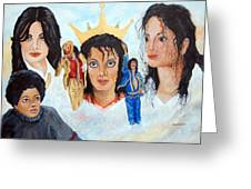 Michael Jackson-faces Greeting Card by Janna Columbus