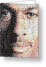 Michael Jordan Face Mosaic Greeting Card by Paul Van Scott