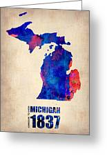 Michigan Watercolor Map Greeting Card by Naxart Studio