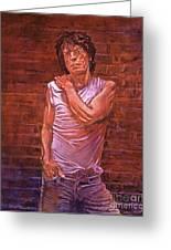 Mick Jagger Greeting Card by David Lloyd Glover