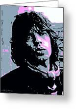 Mick Jagger In London Greeting Card by David Lloyd Glover