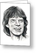 Mick Jagger Greeting Card by Murphy Elliott