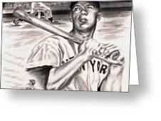 Mickey Mantle Greeting Card by Kathleen Kelly Thompson