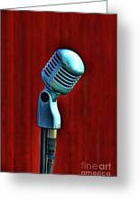 Microphone Greeting Card by Jill Battaglia