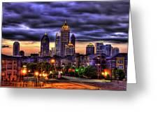 Midtown Atlanta Towers Over Atlantic Commons Greeting Card by Reid Callaway