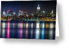 Midtown Manhattan from Jersey City at Night Greeting Card by Val Black Russian Tourchin