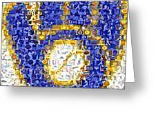 Milwaukee Brewers Mosaic Greeting Card by Paul Van Scott