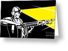 Miner With Jack Leg Drill Greeting Card by Aloysius Patrimonio