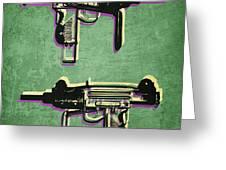 Mini Uzi Sub Machine Gun on Green Greeting Card by Michael Tompsett
