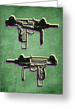 Mini Uzi Sub Machine Gun On Green Greeting Card by Michael Tompsett