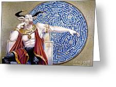 Minotaur With Mosaic Greeting Card by Melissa A Benson
