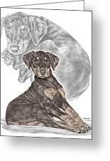 Mischief ... Moi? - Doberman Pinscher Puppy - Color Tinted Greeting Card by Kelli Swan