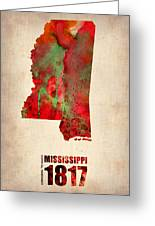 Mississippi Watercolor Map Greeting Card by Naxart Studio