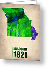 Missouri Watercolor Map Greeting Card by Naxart Studio