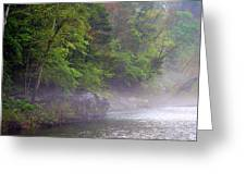 Misty Morning On The Buffalo Greeting Card by Marty Koch