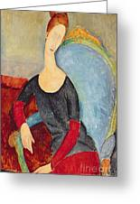 Mme Hebuterne In A Blue Chair Greeting Card by Amedeo Modigliani