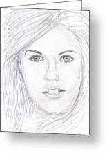 Model With Blond Hair Greeting Card by M Valeriano