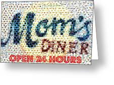 Moms Diner Food Mosaic Greeting Card by Paul Van Scott