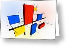 Mondrian 3d Greeting Card by Michael Tompsett