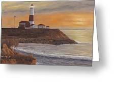 Monntauk Lighthouse Sunset Greeting Card by Diane Romanello