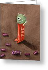 Monster Pez Greeting Card by Leah Saulnier The Painting Maniac