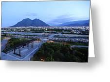 Monterrey At Dusk With Cerro De La Greeting Card by Raul Touzon