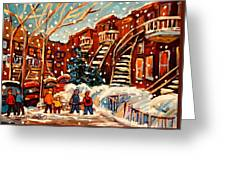 Montreal Street In Winter Greeting Card by Carole Spandau