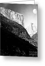 Moon Over Half Dome . Black And White Greeting Card by Wingsdomain Art and Photography