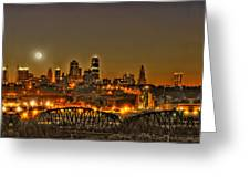 Moon Over Kansas City Mo Greeting Card by Don Wolf