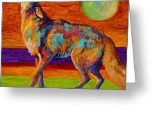 Moon Talk - Coyote Greeting Card by Marion Rose