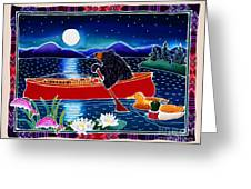 Moonlight On A Red Canoe Greeting Card by Harriet Peck Taylor