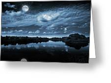 Moonlight over a lake Greeting Card by Jaroslaw Grudzinski