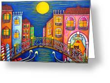 Moonlit Venice Greeting Card by Lisa  Lorenz