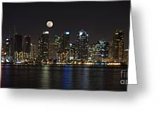 Moonrise Over San Diego Greeting Card by Sandra Bronstein