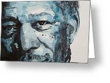 Morgan Freeman Greeting Card by Paul Lovering