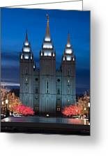 Mormon Temple Christmas Lights Greeting Card by Utah Images
