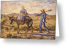 Morning Going Out To Work Greeting Card by Vincent Van Gogh